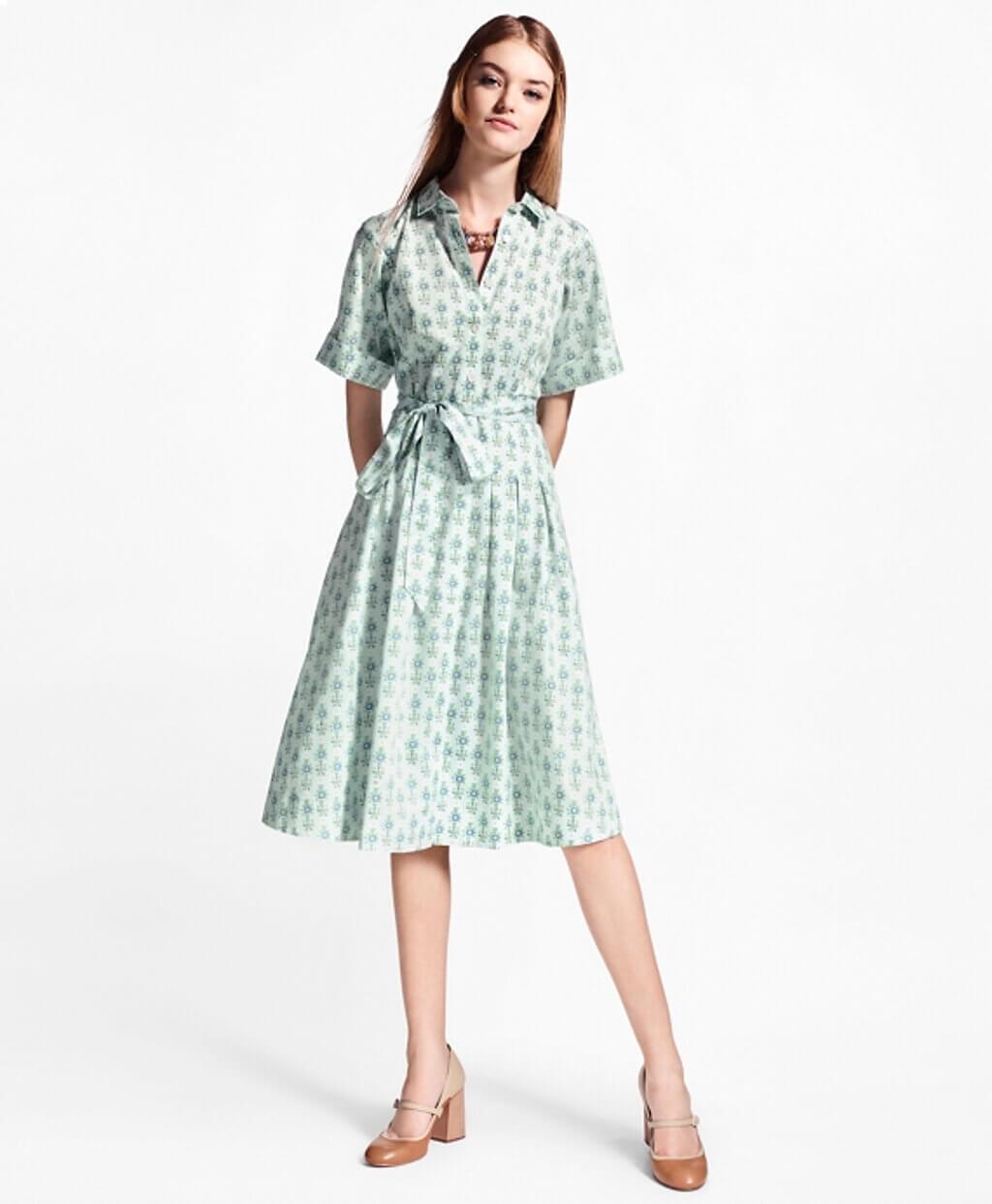 HERO - WX00448_LIGHT-BLUE-MULTI - Σεμιζιέ Φλοράλ Φόρεμα από Βαμβακερό Σατέν - 100097302 - 230